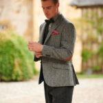 London - modernes Tweed Sakko in black herringbone