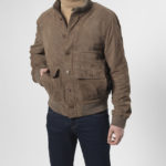 Winner - Blouson aus Ziegenvelour in taupe