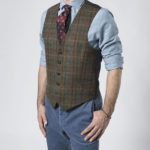 Tailor - Harris Tweed Weste in rot-blauem Karo