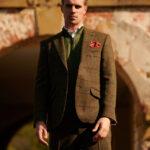 London - Harris Tweed Sakko in green Overcheck