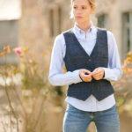 Lea - Harris Tweed Weste in scottish blue