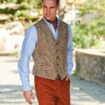Wales - Harris Tweed Weste mit Kragen in Glencheck