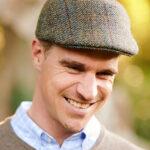 Henry Cap - Harris Tweed Mütze in grünem Fischgrat