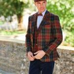 London - Harris Tweed Sakko in chicem Rot-Grünem-Karo