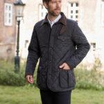 Boston - Steppjacke mit Harris Tweed Applikationen und Polar Fleece in schwarz