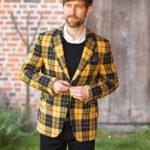 London - Harris Tweed Sakko in gelbem Überkaro
