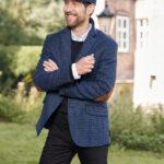 London - Harris Tweed Sakko in blau-schwarzem Hahnentritt